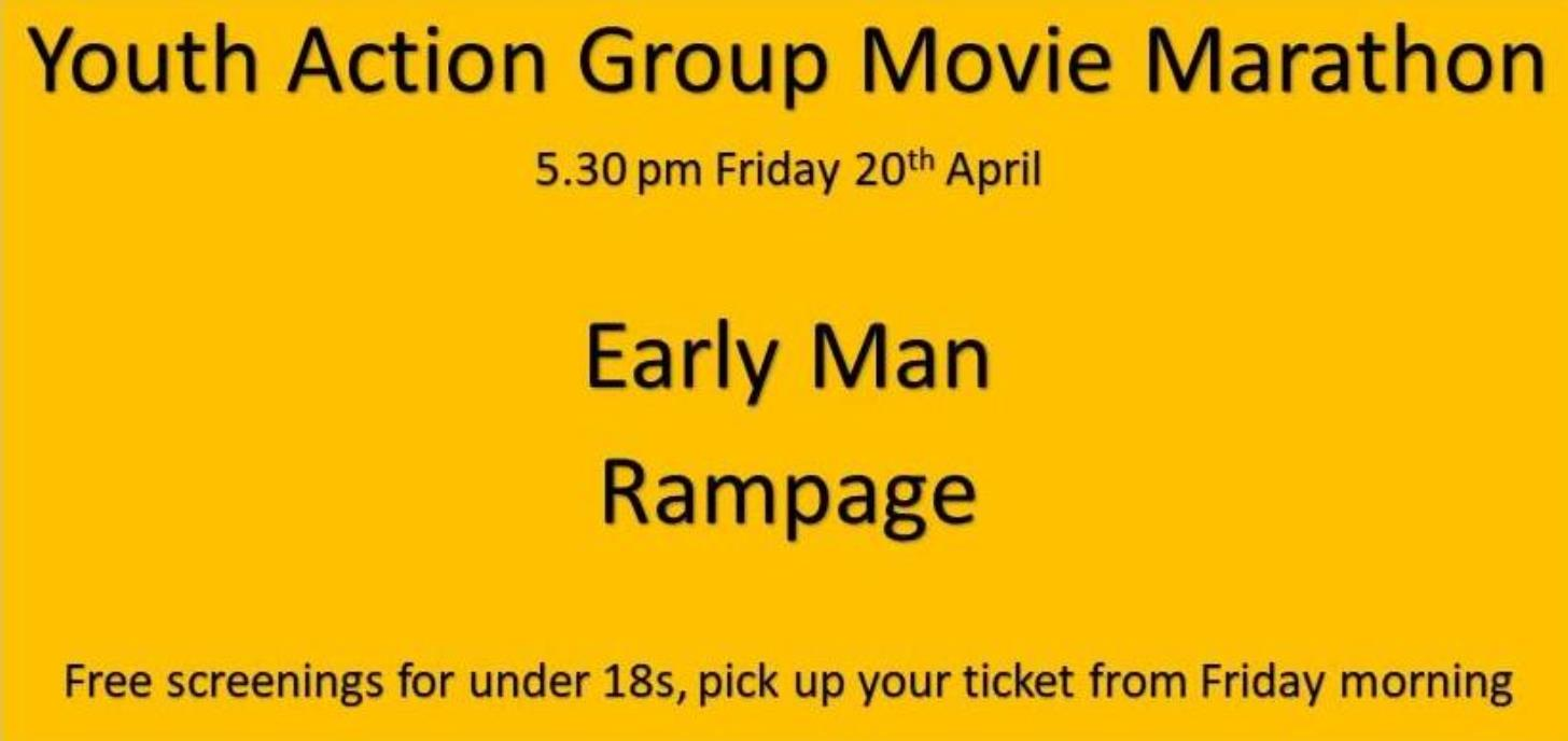 Free Youth Movie Marathon Friday 20th from 6pm
