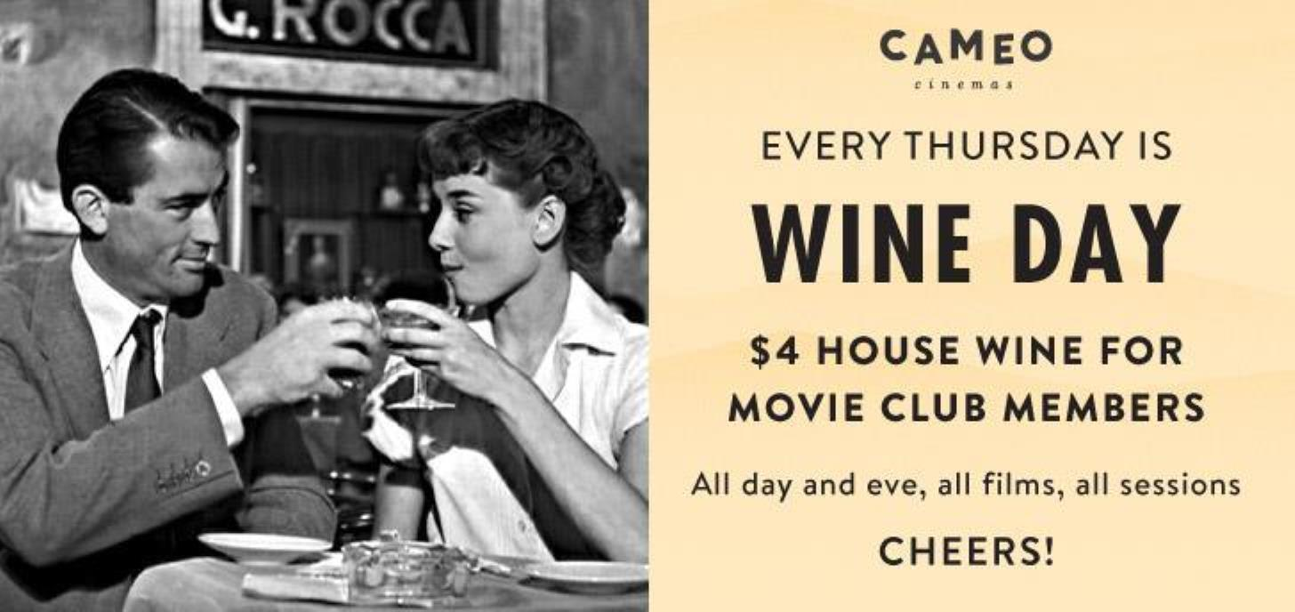 $4 House Wine for Members on Thursdays at Cameo